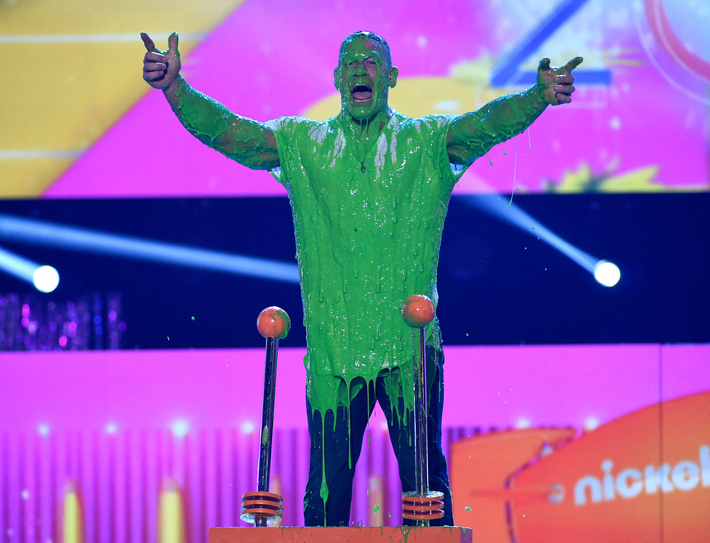 . Host John Cena reacts to getting slimed at the Kids\' Choice Awards at the Galen Center on Saturday, March 11, 2017, in Los Angeles. (Photo by Chris Pizzello/Invision/AP)