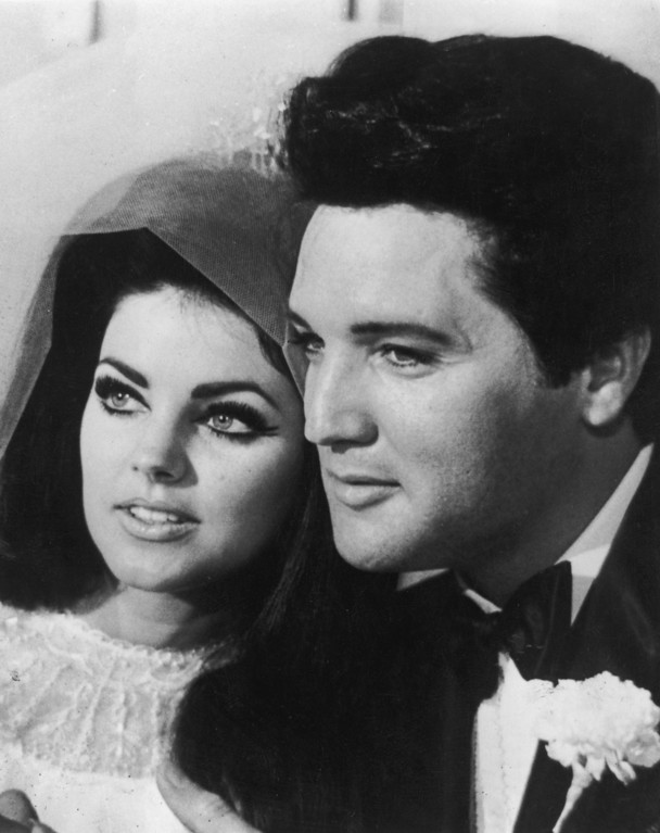 . 1st May 1967:  American rock n\' roll singer and actor Elvis Presley (1935 - 1977) with his bride Priscilla Beaulieu after their wedding in Las Vegas.  (Photo by Keystone/Getty Images)