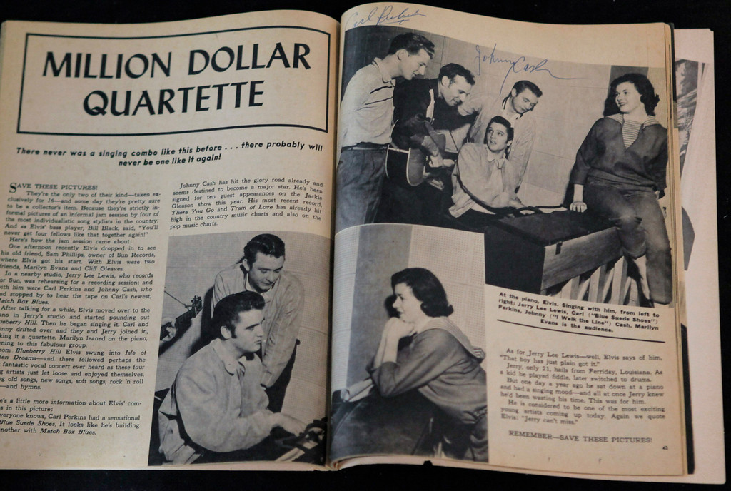 ". A copy of Sixteen Magazine with a photo of ""The Million Dollar Quartet\"" showing performers Jerry Lee Lewis, Carl Perkins, Elvis Presley and Johnny Cash, and signed by Perkins and Cash, is part of The Gary Pepper Collection of Elvis Presley Memorabilia at Leslie Hindman Auctioneers, Monday, Oct. 12, 2009, in Chicago. .(AP Photo/M. Spencer Green)"