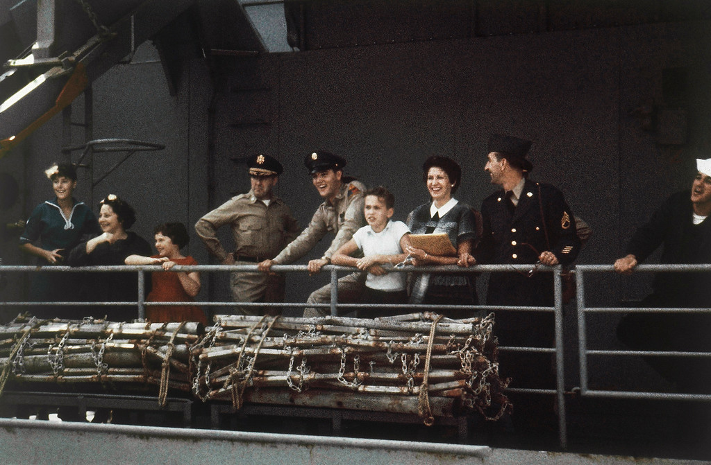 . Elvis Presley smiles on board a U.S. transport ship bound for service with the U.S. armed forces in Germany in 1958. (AP Photo)