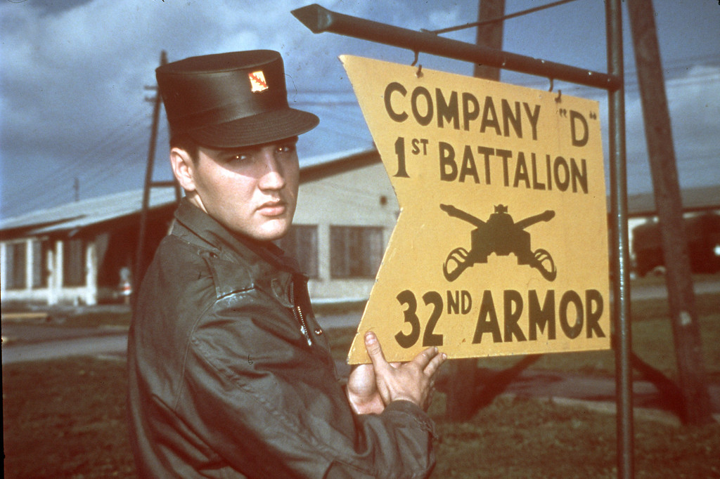 . Elvis Presley is shown in uniform at company D 1st Battalion 32nd U.S. Army Armour at the barracks area in Friedberg, Germany, 1958.  (AP Photo)