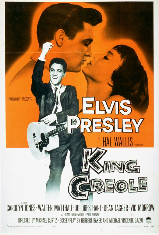 ". This is a film poster for the 1958 musical ""King Creole\"" starring Elvis Presley as a bus boy turned night club singer in New Orleans. (AP Photo)"