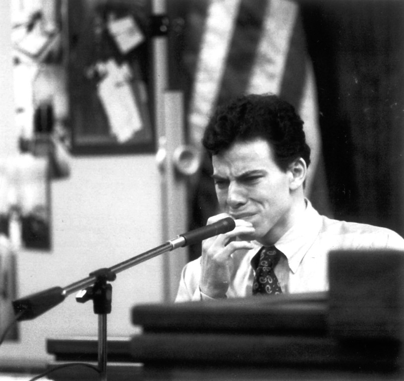 . Erik Menendez breaks down in tears as he tells jurors Monday, September 27, 1993, in Van Nuys Superior Court, how his father molested him for 12 years.   (L.A. Daily News file photo)