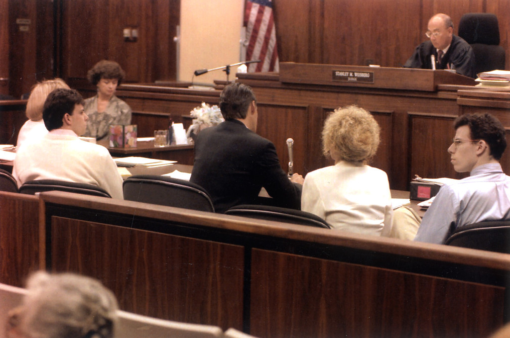 . Judge Stanley Weisberg listens as the Menendez brothers trial stars with opening arguments on Tuesday, July 20, 1993.  (L.A. Daily News file photo)