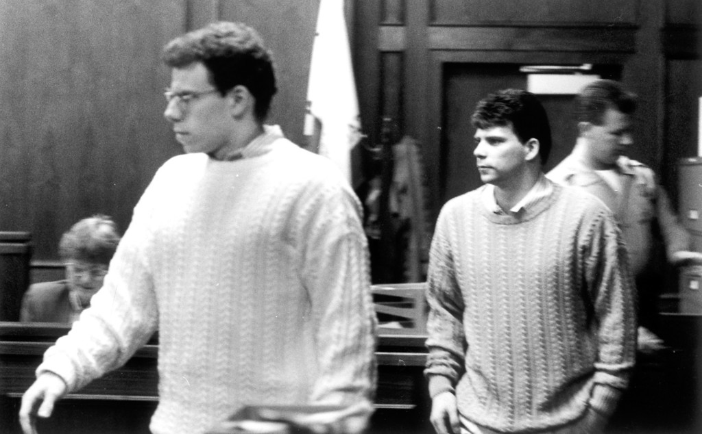 . Erik and Lyle Menendez at Van Nuys Superior Court on February 8, 1993.   On August 20, 1989, Lyle and Erik Menendez murdered their parents, Jose and Kitty, in the den of the family\'s home in Beverly Hills, CA.    (L.A. Daily News file photo)