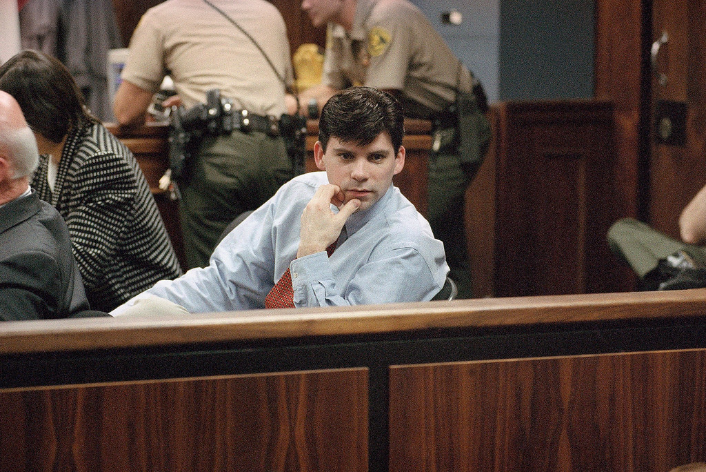 . Lyle Menendez looks back at the spectators in the courtroom during final arguments in the second murder trial of Lyle and his brother Erik in the Van Nuys section of Los Angeles on Thursday, Feb. 22, 1996. (AP Photo/Nick Ut)