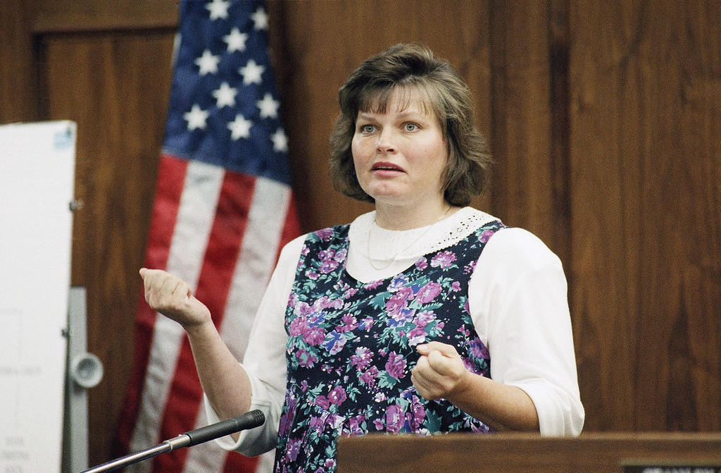 . Dianne Van der Molen, a cousin of Erik and Lyle Menendez, testifies in the Menendez brothers\' murder trial in Los Angeles, Aug. 18, 1993. Van der Molen stated that in 1976, then-eight-year-old Lyle Menendez confided to her an instance of sexual molestation. It was the first evidence of sexual abuse in the trial of the brothers, who are accused of murdering their parents in 1989. (AP Photo/Nick Ut)