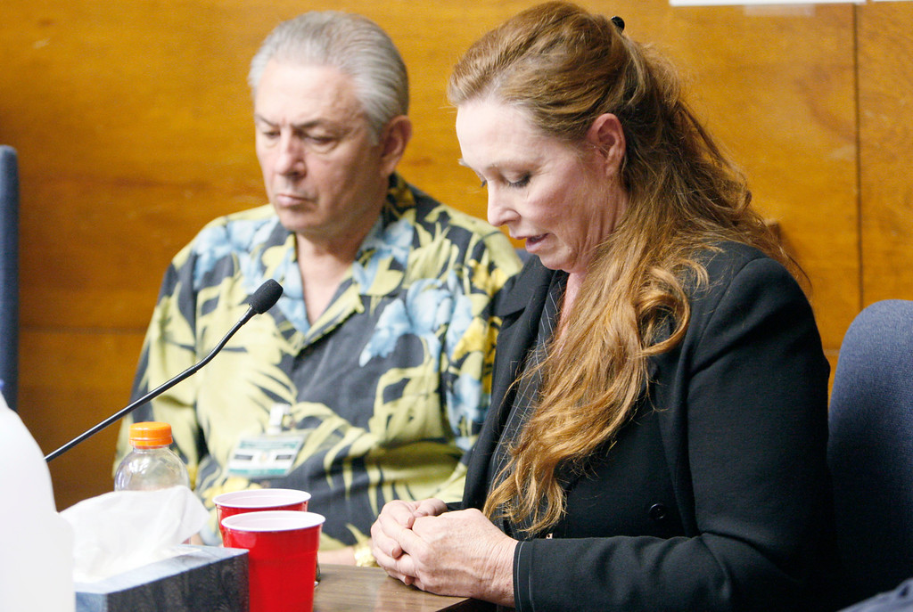. Debra Tate, sister of Sharon Tate, and Louis Smalvino, nephew of Leno LaBianca, both speak in opposition to release at a parole hearing for former Charles Manson follower Leslie Van Houten, convicted in the 1969 murders of Rosemary and Leno LaBianca, in a hearing room at the California Institution for Women at Frontera, in Corona, Calif., Tuesday, July 6, 2010.  (AP Photo/Reed Saxon)