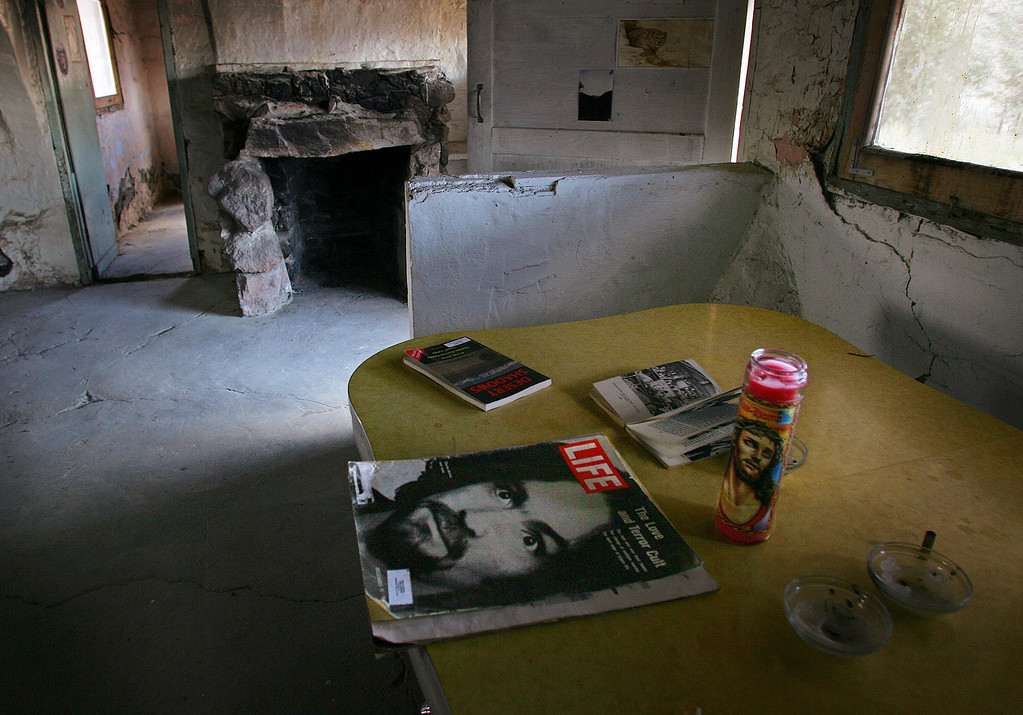 . A Life magazine with Charles Manson on the cover is left on a the kitchen table in the abandoned Barker Ranch house, Friday, Feb. 22, 2008 in the Panamint Mountains west of Death Valley National Park, Calif. Manson and his followers retreated to the Barker Ranch after a killing spree during the summer of 1969.The high desert wasteland outside of town hides the ranch where a paranoid Charles Manson and his followers holed up after their orgy of murder nearly four decades ago.  (AP Photo/Gary Kazanjian)
