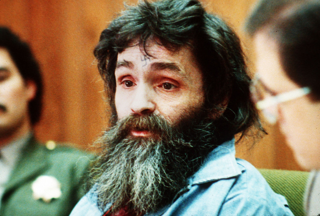 . This is a 1986 file photo of Charles Manson.  On January 25, 1971, in Los Angeles, California, cult leader Charles Manson was convicted, along with followers Susan Atkins, Leslie Van Houten, and Patricia Krenwinkle, of the brutal 1969 murders of actress Sharon Tate and six others. (AP Photo, file)