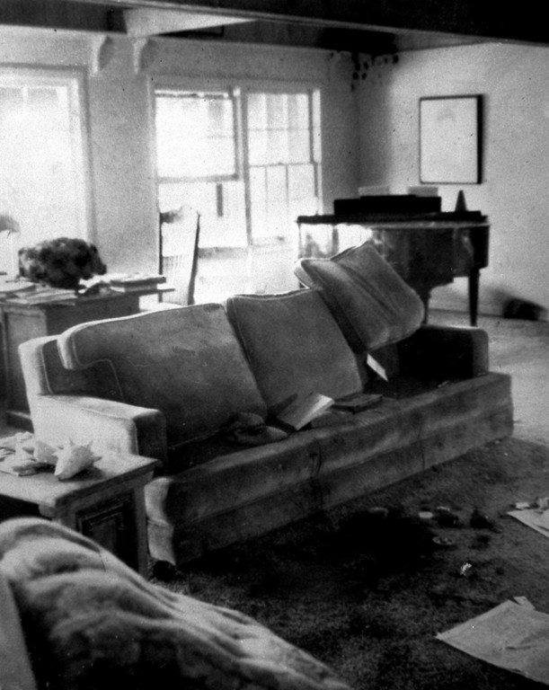 . This is an Aug. 20, 1969 view of the area in the living room of the home of actress Sharon Tate in Los Angeles where she and a friend, hair stylist Jay Sebing, were found slain about a week ealier. Their bodies were found in front of the couch. Three other victims were found outside the house. (AP Photo/Hollywood Citizen-News/Valley Times, Peter Banks)