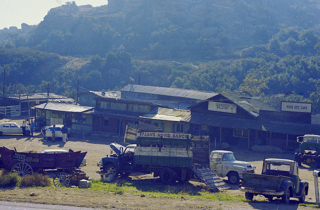 ". This is a general view of the 500-acre Spahn Movie Ranch in the Santa Susana Mountains of southern California, seen 1969.  The ranch was where Charles Manson and his ""family\"" lived at the time of the Tate-LaBianca murders.  (AP Photo)"