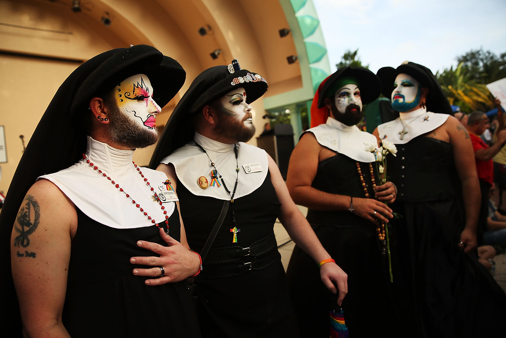 . ORLANDO, FL - JUNE 19: Members of the Sisters of Perpetual Indulgence attend a memorial service on June 19, 2016 in Orlando, Florida. The Sisters of Perpetual Indulgence are a charity, protest, and street performance organization that uses drag and religious imagery to call attention to sexual intolerance. Thousands of people are expected at the evening event which will feature entertainers, speakers and a candle vigil at sunset. In what is being called the worst mass shooting in American history, Omar Mir Seddique Mateen killed 49 people at the popular gay nightclub early last Sunday. Fifty-three people were wounded in the attack which authorities and community leaders are still trying to come to terms with. (Photo by Spencer Platt/Getty Images)