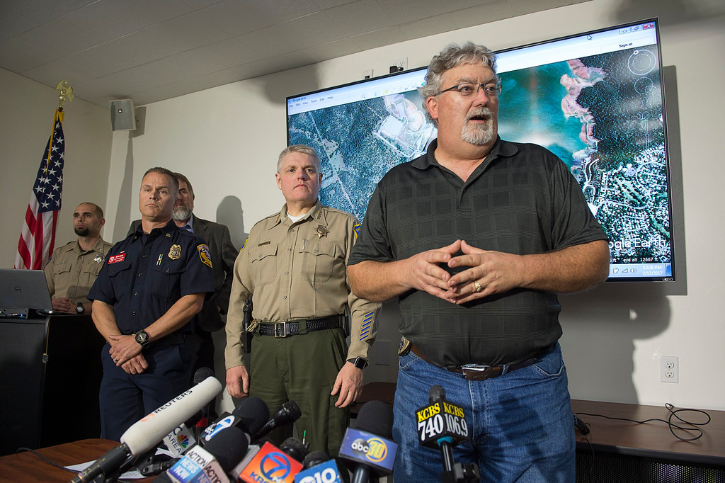 . Department of Water Resources Acting director Bill Croyle address the media about the condition of Oroville Dam during a press conference with Cal Fire Commander Kevin Lawson and Butte County Sheriff Kory Honea on Monday, Feb.13, 2017 in Oroville, Calif. Nearly 200,000 people who were ordered to leave their homes out of fear that a spillway could collapse may not be able to return until the barrier at the nation\'s tallest dam is repaired, Sheriff Kory Honea said Monday. (Paul Kitagaki Jr./The Sacramento Bee via AP)