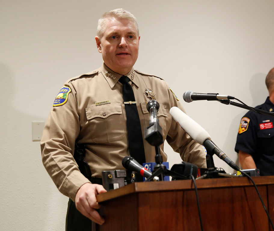 . Butte County Sheriff Kory Honea speaks during a news conference about the situation at the Oroville Dam on Sunday, Feb. 12, 2017, in Marysville, Calif. Honea said evacuation orders affecting thousands of people will stand until there is more information on the condition of the nation\'s tallest dam\'s emergency spillway. Bill Croyle, acting Director of the California Department of Water Resources, said officials will be able to assess the damage to the emergency spillway now that the water is no longer spilling over the top. (AP Photo/Rich Pedroncelli)