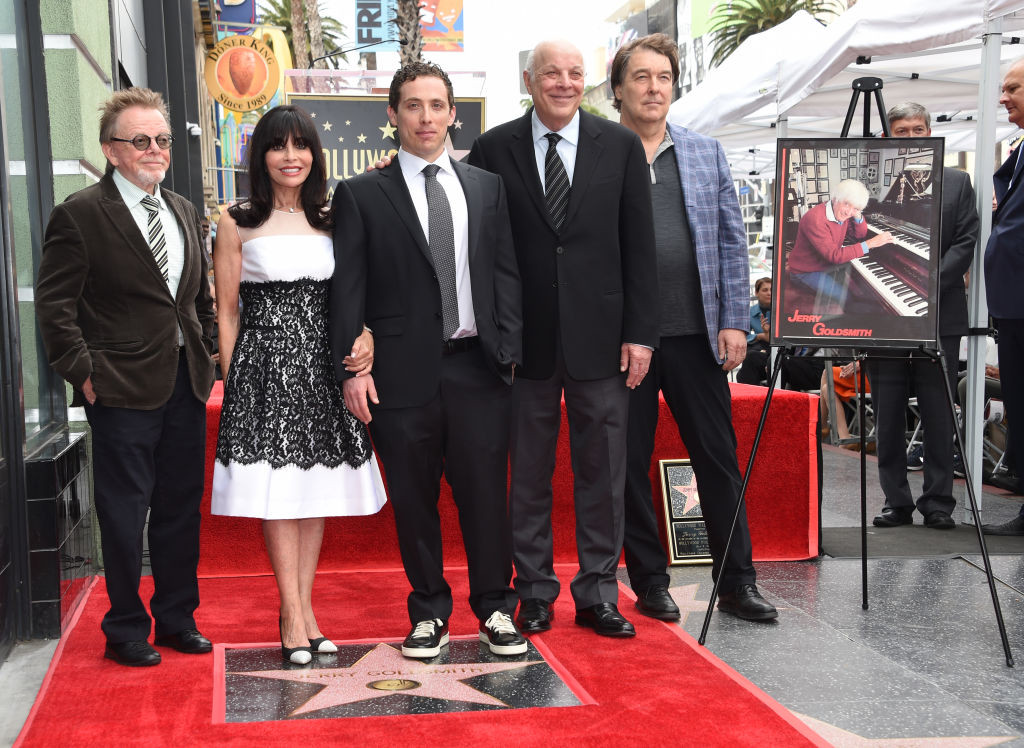 . (L-R) Paul Williams, Carol Goldsmith, wife of Jerry Goldsmith, Aaron Goldsmith, Charles Fox and David Newman attend the posthumous Walk of Fame ceremony for composer Jerry Goldsmith at 6752 Hollywood boulevard in Hollywood, on May 9, 2017. (CHRIS DELMAS/AFP/Getty Images)