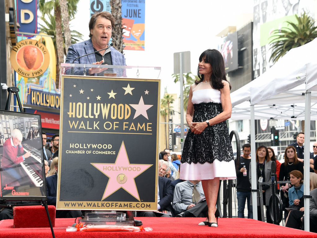. David Newman and Carol Goldsmith, wife of Jerry Goldsmith attend the posthumous Walk of Fame ceremony for composer Jerry Goldsmith in Hollywood,California on May 9, 2017. (CHRIS DELMAS/AFP/Getty Images)