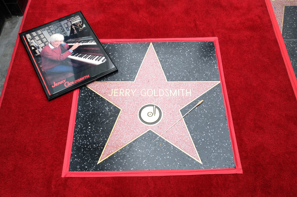 . Star and conductor baton are viewed at the posthumous Walk of Fame ceremony for composer Jerry Goldsmith in Hollywood, on May 9, 2017. (CHRIS DELMAS/AFP/Getty Images)