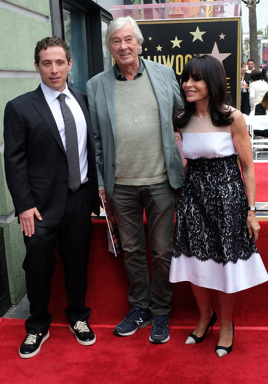 . Paul Verhoeven(C), Carol Goldsmith, wife of Jerry Goldsmith and Aaron Goldsmith(L) attend the posthumous Walk of Fame ceremony for composer Jerry Goldsmith at 6752 Hollywood boulevard in Hollywood, on May 9, 2017. (CHRIS DELMAS/AFP/Getty Images)