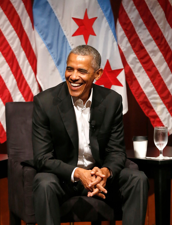 . Former President Barack Obama smiles as he hosts a conversation on civic engagement and community organizing, Monday, April 24, 2017, at the University of Chicago in Chicago. It\'s the former president\'s first public event of his post-presidential life in the place where he started his political career. (AP Photo/Charles Rex Arbogast)