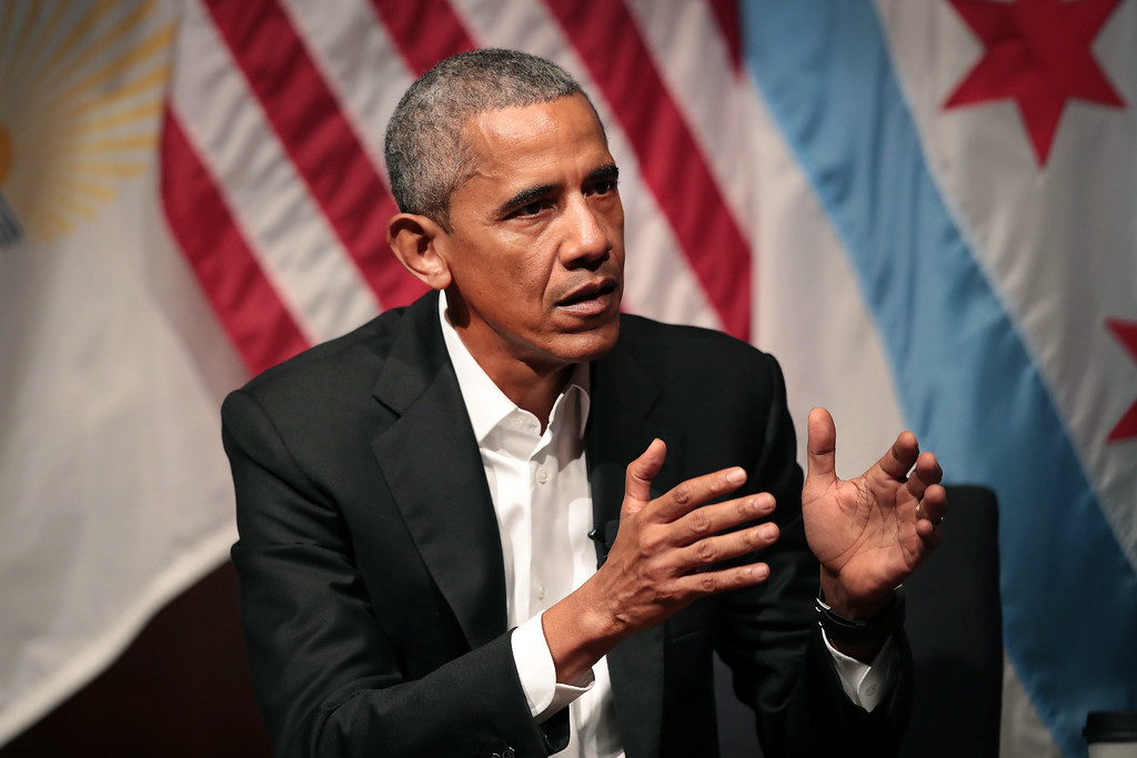 . CHICAGO, IL - APRIL 24:  Former U.S. President Barack Obama visits with youth leaders at the University of Chicago to help promote community organizing on April 24, 2017 in Chicago, Illinois. The visit marks Obama\'s first formal public appearance since leaving office.  (Photo by Scott Olson/Getty Images)