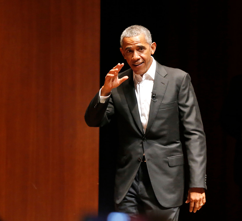 . Former President Barack Obama waves as he arrives to host a conversation on civic engagement and community organizing, Monday, April 24, 2017, at the University of Chicago in Chicago. It\'s the former president\'s first public event of his post-presidential life in the place where he started his political career. (AP Photo/Charles Rex Arbogast)