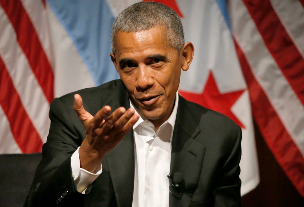 . Former President Barack Obama hosts a conversation on civic engagement and community organizing, Monday, April 24, 2017, at the University of Chicago in Chicago. It\'s the former president\'s first public event of his post-presidential life in the place where he started his political career. (AP Photo/Charles Rex Arbogast)