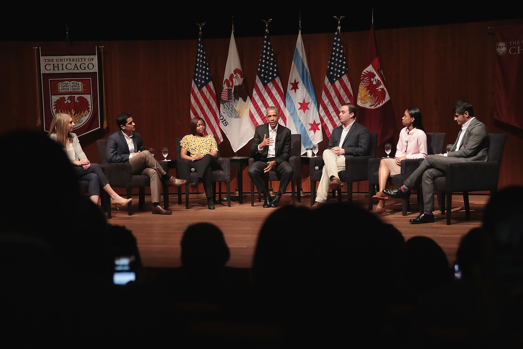 . CHICAGO, IL - APRIL 24:  Former President Barack Obama (C) visits with youth leaders at the University of Chicago to help promote community organizing on April 24, 2017 in Chicago, Illinois. The visit marks Obama\'s first formal public appearance since leaving office.  (Photo by Scott Olson/Getty Images)