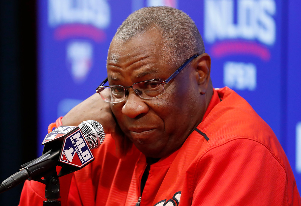 . Washington Nationals manager Dusty Baker listens to a question during a media availability before Game 5 of baseball\'s National League Division Series against the Los Angeles Dodgers, at Nationals Park, Thursday, Oct. 13, 2016, in Washington. (AP Photo/Alex Brandon)