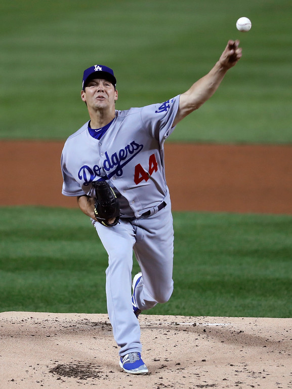 . Los Angeles Dodgers starting pitcher Rich Hill throws in the first inning during Game 5 of baseball\'s National League Division Series against the Washington Nationals, at Nationals Park, Thursday, Oct. 13, 2016, in Washington. (AP Photo/Alex Brandon, Pool)