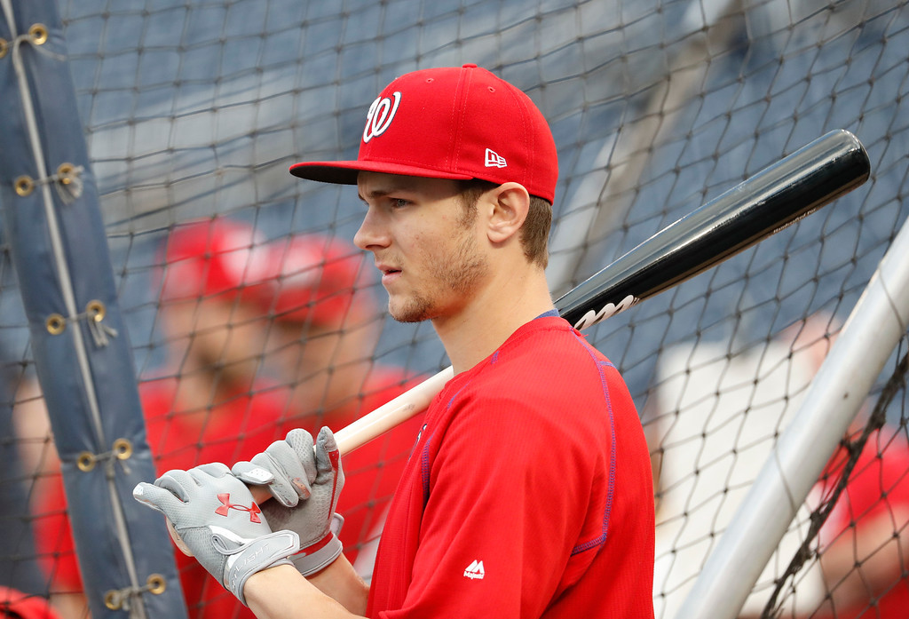 . Washington Nationals center fielder Trea Turner waits his turn during batting practice before Game 5 of baseball\'s National League Division Series against the Los Angeles Dodgers at Nationals Park, Thursday, Oct. 13, 2016, in Washington. (AP Photo/Alex Brandon)