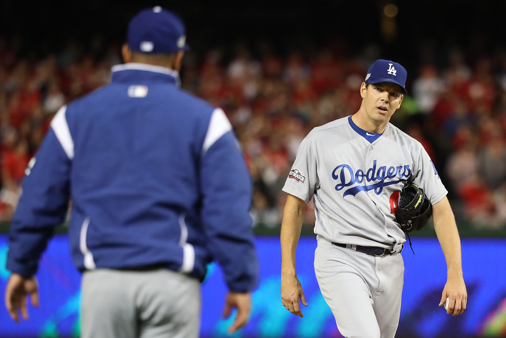 . WASHINGTON, DC - OCTOBER 13: Rich Hill #44 of the Los Angeles Dodgers is relieved from the game in the third inning against the Washington Nationals during game five of the National League Division Series at Nationals Park on October 13, 2016 in Washington, DC. (Photo by Rob Carr/Getty Images)
