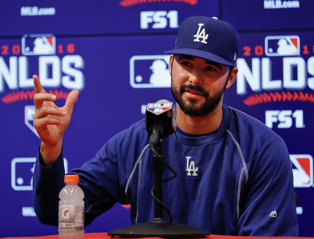 . Los Angeles Dodgers outfielder Andre Ethier gestures as he answers questions during a media availability before Game 5 of baseball\'s National League Division Series against the Los Angeles Dodgers, at Nationals Park, Thursday, Oct. 13, 2016, in Washington. (AP Photo/Pablo Martinez Monsivais)