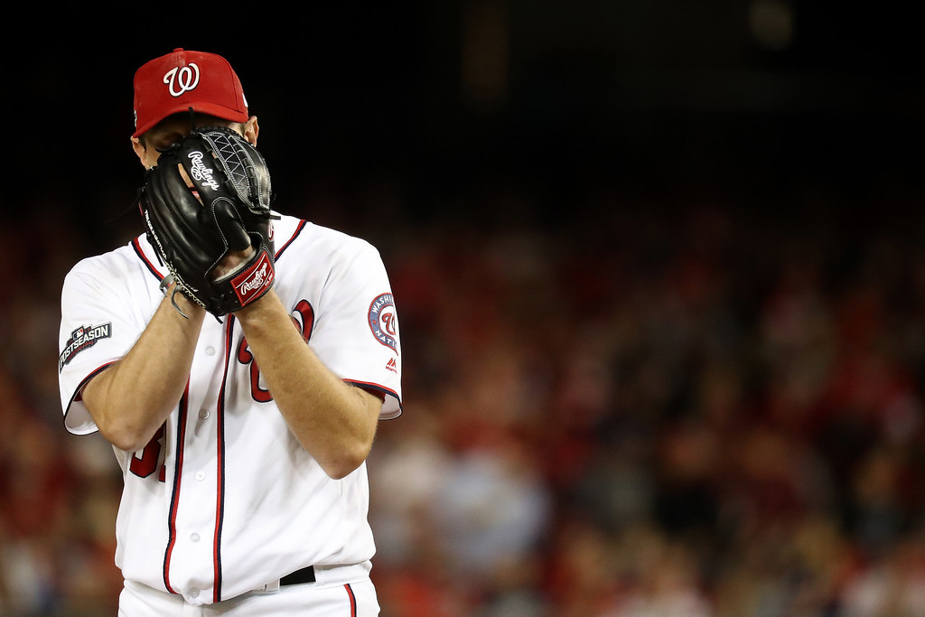 . WASHINGTON, DC - OCTOBER 13: Max Scherzer #31 of the Washington Nationals works against the Los Angeles Dodgers in the fifth inning during game five of the National League Division Series at Nationals Park on October 13, 2016 in Washington, DC. (Photo by Rob Carr/Getty Images)