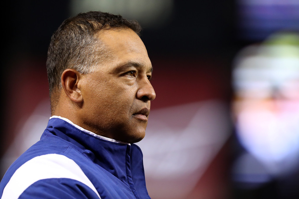 . WASHINGTON, DC - OCTOBER 13: Manager Dave Roberts #30 of the Los Angeles Dodgers looks on prior to game five of the National League Division Series against the Washington Nationals at Nationals Park on October 13, 2016 in Washington, DC. (Photo by Rob Carr/Getty Images)