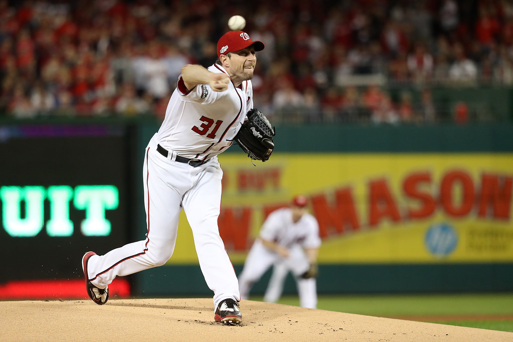 . WASHINGTON, DC - OCTOBER 13: Max Scherzer #31 of the Washington Nationals works against the Los Angeles Dodgers in the first inning during game five of the National League Division Series at Nationals Park on October 13, 2016 in Washington, DC. (Photo by Rob Carr/Getty Images)