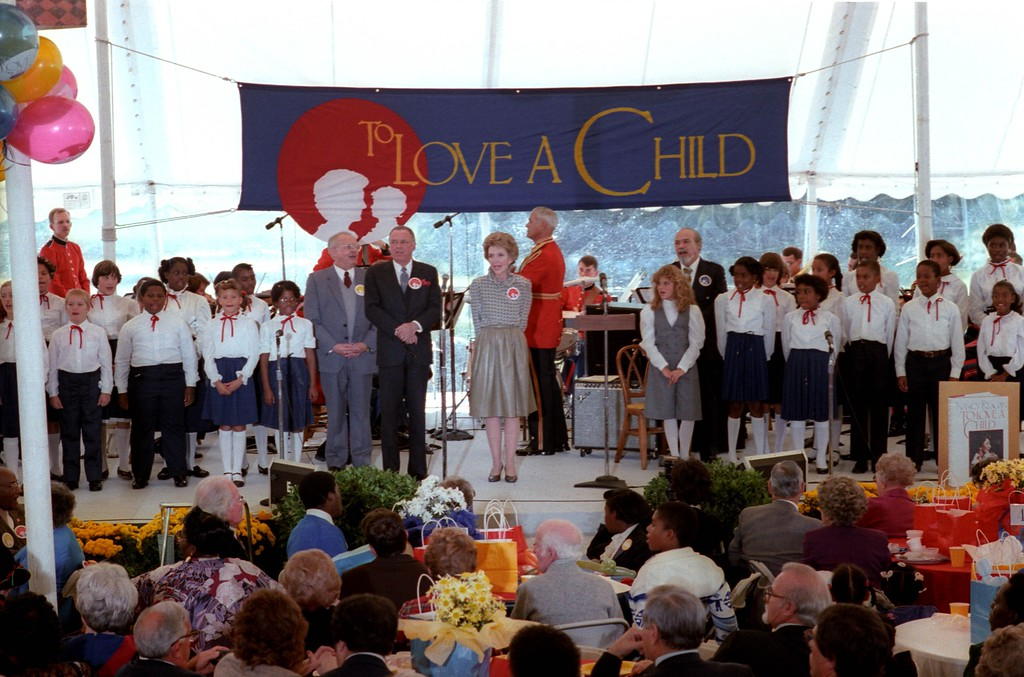". First Lady Nancy Reagan sings with Frank Sinatra, Johnny Grant and Nika Costa at the ""To Love a Child\"" Luncheon on the White House South Lawn, 10/19/82.  Photo Credit: The Ronald Reagan Presidential Library and Museum"