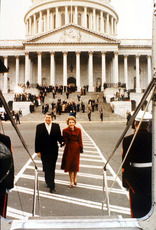 . 01/20/89 Washington, Dc President Ronald Reagan And Wife Nancy Prepare To Leave Washington For The Last Time.  (Photo By The White House/Getty Images)