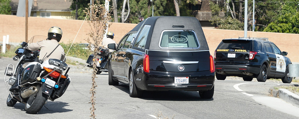 . March 6, 2016, Westwood, California  CHP escorting the hurst transporting the body of Nancy Reagan from here Belair home who died Sunday morning at the age of 94. Photo by Gene Blevins/LA Daily News