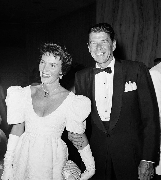 . Ronald Reagan and his wife Nancy are shown July 16, 1959 at a Hollywood movie premiere, Los Angeles. (AP Photo)