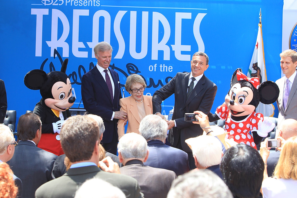 . Chairman of the Board of Trustees for the Ronald Reagan Presidential Foundation Frederick J. Ryan, Jr., Nancy Reagan, and Chairman and CEO of The Walt Disney Company Robert A. Iger at The Grand Opening Of D23\'s Treasures Of The Walt Disney Archives At The Ronald Reagan Presidential Library & Museum held at The Ronald Reagan Presidential Library on July 5, 2012 in Simi Valley, California.  (Photo by Alexandra Wyman/Getty Images)