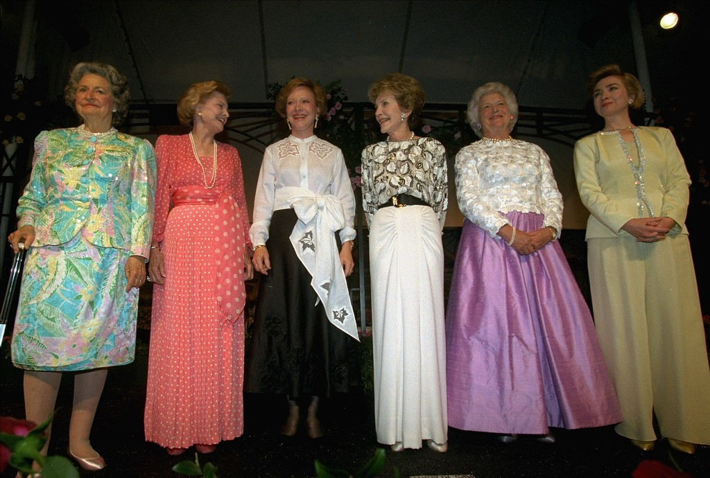 . Five former first ladies pose with first lady Hillary Rodham Clinton at the National Garden Gala in Washington Wednesday May 11, 1994.  Shown from left are Lady Bird Johnson, Betty Ford, Rosalynn Carter, Nancy Reagan, Barbara Bush and Clinton.  The gala is to benefit the National Garden to be built near the U.S. Botanic Garden Conservatory in Washington.  (AP Photo)