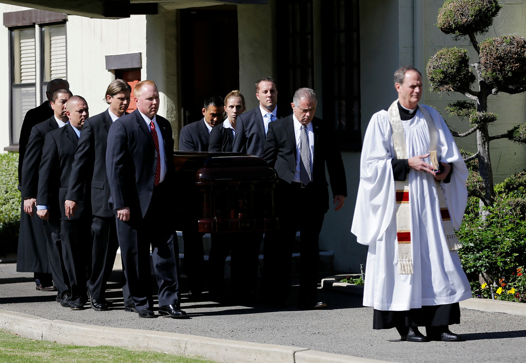 . The casket carrying the former first lady Nancy Reagan leaves a small ceremony at a mortuary, Wednesday, March 9, 2016, in Santa Monica, Calif. (AP Photo/Jae C. Hong)