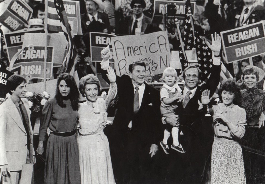. 7/17/80 - Detroit: Republican Presidential candidate Ronald Reagan and his family join in the jubilation at the Republican National Convention folling Reagan\'s acceptance Speech. LTR: Reagan\'s son and daughter, Ronald and Patti; Wife, Nancy; Ronlad Reagan; son, Minchael with grandson Cameron and daughter-in-law, Colleen; and daughter Maureen.   (Los Angeles Daily News file photo)