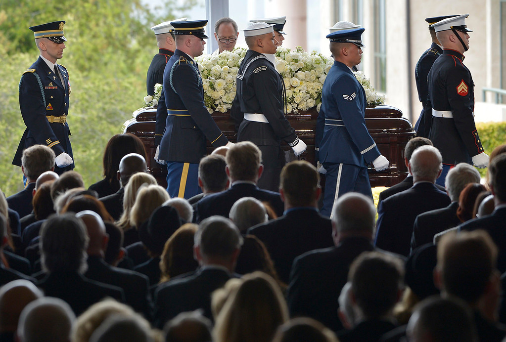 . Military pallbearers bring the casket to the stage during the funeral service for Nancy Reagan at the Ronald Reagan Presidential Library in Simi Valley, CA March 11, 2016.  (Photo by John McCoy/Los Angeles News Group)