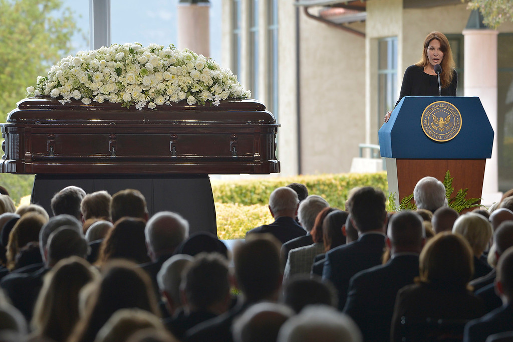 . Patti Davis speaks during the funeral service for her mother Nancy Reagan at the Ronald Reagan Presidential Library in Simi Valley, CA March 11, 2016.  (Photo by John McCoy/Los Angeles News Group)