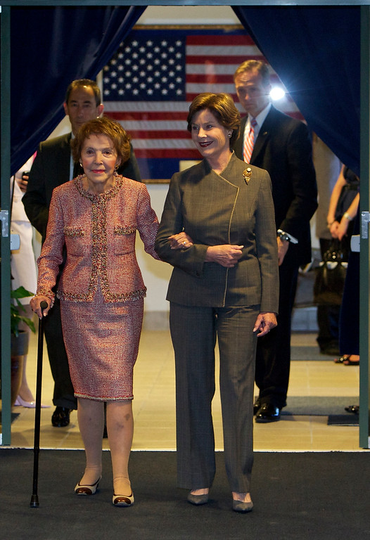 . Former first ladies Nancy Reagan, left, and Laura Bush arrive at a Perspectives in Leadership Forum, a Keynote address by first lady Laura Bush at The Ronald Reagan Presidential Library on Wednesday, May 12, 2010. (AP Photo/Damian Dovarganes)