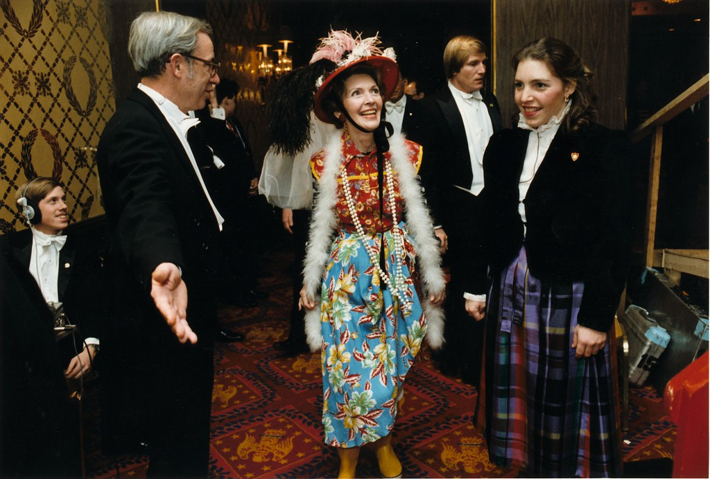 ". First Lady Nancy Reagan in her ""Second-Hand Clothes\"" disguise for the Gridiron Club Annual Dinner, Washington, DC, 3/27/82.  Photo Credit: The Ronald Reagan Presidential Library and Museum"
