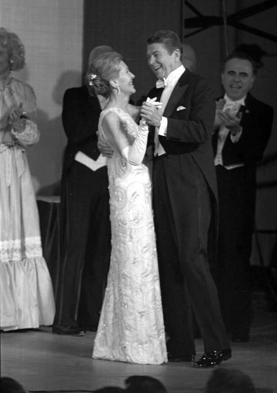 . President Ronald Reagan and his wife, Nancy dance Jan. 20, 1981 at an inaugural ball at the Pension Building in Washington . The President and first lady were scheduled to appear at nine ball during the evening. (AP Photo)