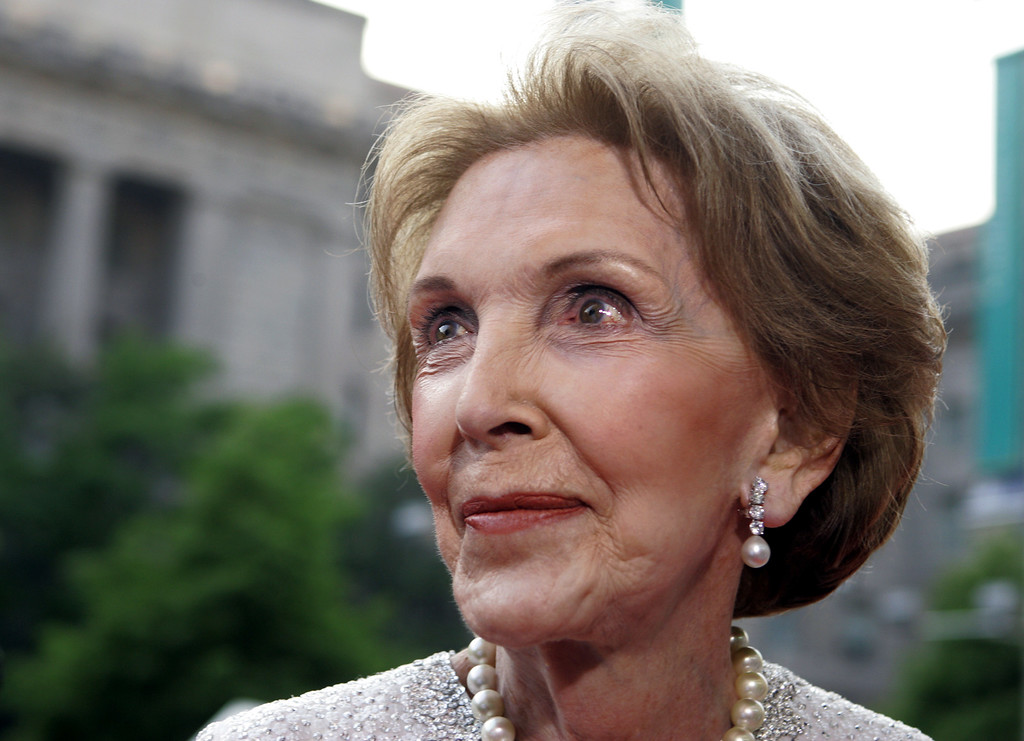 . Former first lady Nancy Reagan arrives at Ronald Reagan building, Wednesday, May 11, 2005, in Washington. Mrs. Reagan made her first big public event Wednesday, since her husband\'s state funeral, in the building named after her husband.  (AP Photo/Manuel Balce Ceneta)
